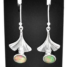 3.11cts natural multi color ethiopian opal 925 silver dangle earrings t5997