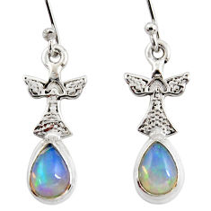 3.98cts natural multi color ethiopian opal 925 silver owl earrings r47475