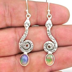 3.93cts natural multi color ethiopian opal 925 silver snake earrings t32929