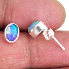 1.55cts natural multi color ethiopian opal 925 silver stud earrings r56262