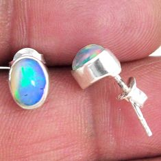 1.61cts natural multi color ethiopian opal 925 silver stud earrings r56269