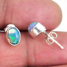 1.44cts natural multi color ethiopian opal 925 silver stud earrings r56273