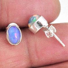 1.47cts natural multi color ethiopian opal 925 silver stud earrings r56280