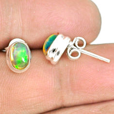 2.84cts natural multi color ethiopian opal 925 silver stud earrings r72230