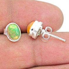 2.94cts natural multi color ethiopian opal 925 silver stud earrings t19281