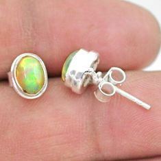 2.46cts natural multi color ethiopian opal 925 silver stud earrings t19283