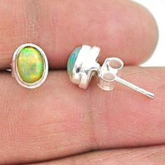 2.69cts natural multi color ethiopian opal 925 silver stud earrings t19287