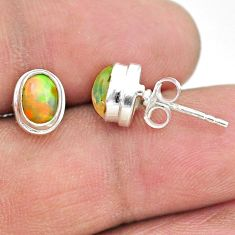2.93cts natural multi color ethiopian opal 925 silver stud earrings t19288