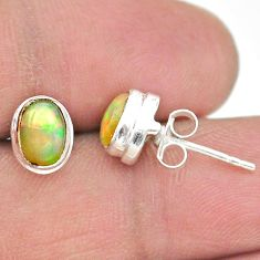 2.77cts natural multi color ethiopian opal 925 silver stud earrings t19296