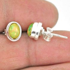2.38cts natural multi color ethiopian opal 925 silver stud earrings t19298
