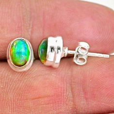 2.05cts natural multi color ethiopian opal 925 silver stud earrings t2886