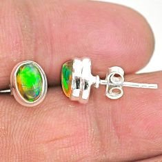 2.05cts natural multi color ethiopian opal 925 silver stud earrings t2900