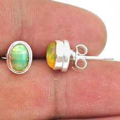2.72cts natural multi color ethiopian opal 925 silver stud earrings t39626