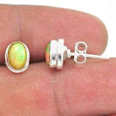 2.66cts natural multi color ethiopian opal 925 silver stud earrings t39628