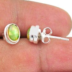 2.64cts natural multi color ethiopian opal 925 silver stud earrings t39631