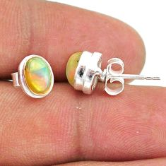 2.69cts natural multi color ethiopian opal 925 silver stud earrings t39632