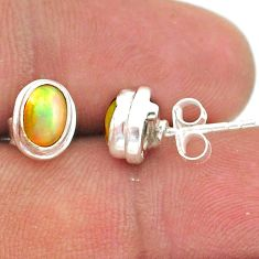 2.64cts natural multi color ethiopian opal 925 silver stud earrings t39635