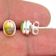 2.46cts natural multi color ethiopian opal 925 silver stud earrings t39637