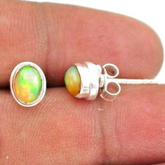 2.43cts natural multi color ethiopian opal 925 silver stud earrings t39638