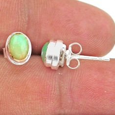 2.33cts natural multi color ethiopian opal 925 silver stud earrings t39640