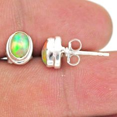 2.68cts natural multi color ethiopian opal 925 silver stud earrings t39643