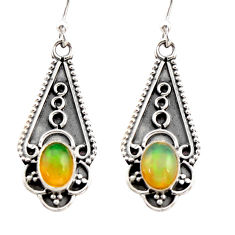 3.18cts natural multi color ethiopian opal 925 sterling silver earrings r21802