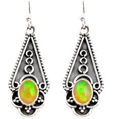3.42cts natural multi color ethiopian opal 925 sterling silver earrings r21803