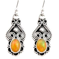 3.17cts natural multi color ethiopian opal 925 sterling silver earrings r21806
