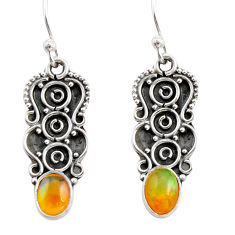 3.21cts natural multi color ethiopian opal 925 sterling silver earrings r21807