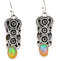 3.65cts natural multi color ethiopian opal 925 sterling silver earrings r21810