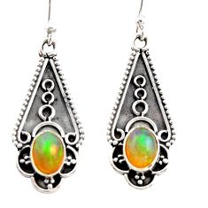 3.65cts natural multi color ethiopian opal 925 sterling silver earrings r21811