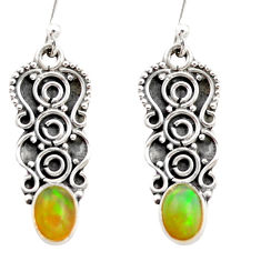 3.43cts natural multi color ethiopian opal 925 sterling silver earrings r21813
