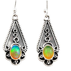 3.18cts natural multi color ethiopian opal 925 sterling silver earrings r21814