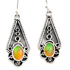 3.45cts natural multi color ethiopian opal 925 sterling silver earrings r21815