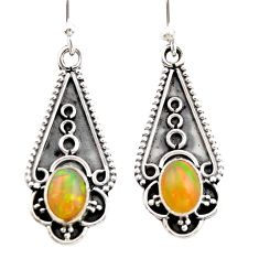 3.23cts natural multi color ethiopian opal 925 sterling silver earrings r21817