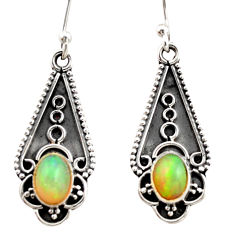 3.18cts natural multi color ethiopian opal 925 sterling silver earrings r21818