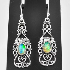 2.98cts natural multi color ethiopian opal 925 sterling silver earrings t4006