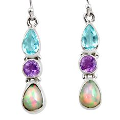 8.10cts natural multi color ethiopian opal amethyst 925 silver earrings r47542