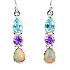 8.38cts natural multi color ethiopian opal amethyst 925 silver earrings r47553