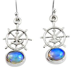 4.02cts natural multi color ethiopian opal silver anchor charm earrings r51021