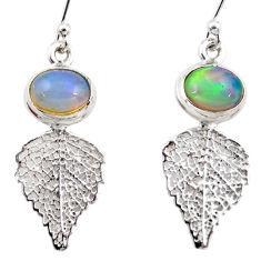 4.39cts natural multi color ethiopian opal silver deltoid leaf earrings r47431