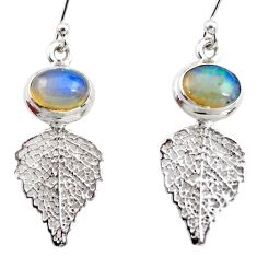 4.27cts natural multi color ethiopian opal silver deltoid leaf earrings r47440