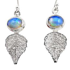 4.28cts natural multi color ethiopian opal silver deltoid leaf earrings r47447