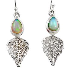 4.16cts natural multi color ethiopian opal silver deltoid leaf earrings r47449