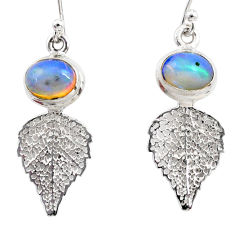 4.36cts natural multi color ethiopian opal silver deltoid leaf earrings r47458