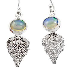 4.27cts natural multi color ethiopian opal silver deltoid leaf earrings r47480