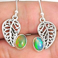 2.90cts natural multi color ethiopian opal silver deltoid leaf earrings r76243