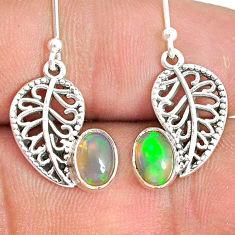 2.90cts natural multi color ethiopian opal silver deltoid leaf earrings r76245