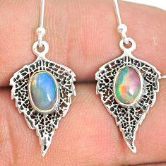 3.05cts natural multi color ethiopian opal silver deltoid leaf earrings r76254