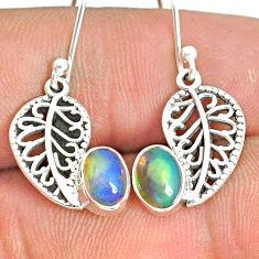 2.72cts natural multi color ethiopian opal silver deltoid leaf earrings r76289